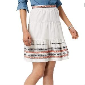 Tommy Hilfiger Skirt Ivory Embroidery Knee Length